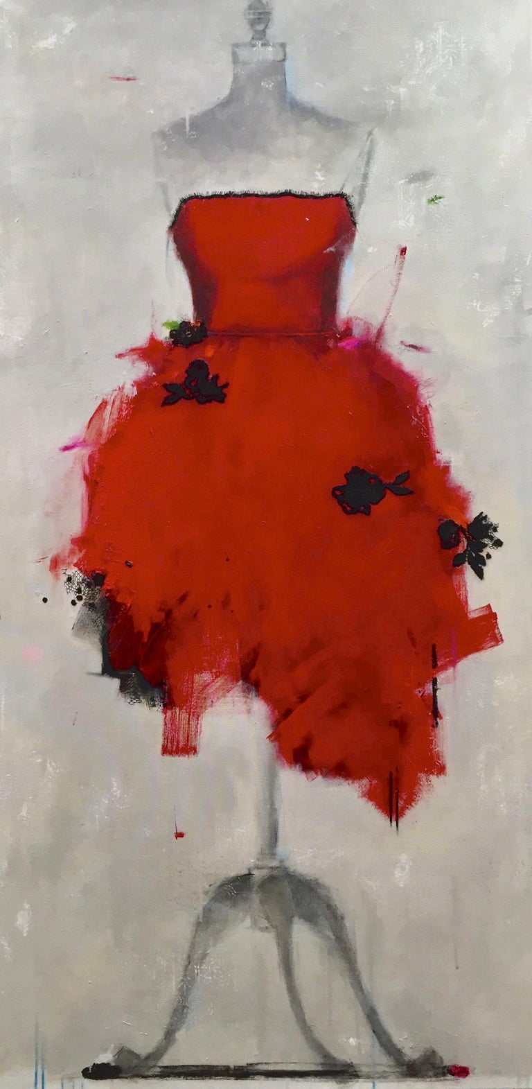 Andrea Stajan-Ferkul Figurative Painting - Put On A Red Dress And Make Yourself A Drink (Dress 29)