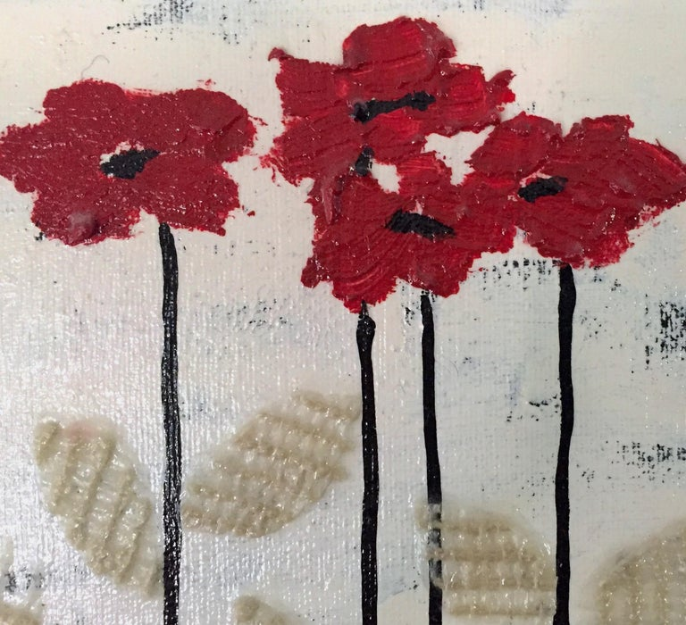 This painting is one from a series of two. Stajan-Ferkul's minimal approach is carried through into this floral landscape painting where emphasis is put on simplifying the composition. Textures and textile collage play a large role in her minimal