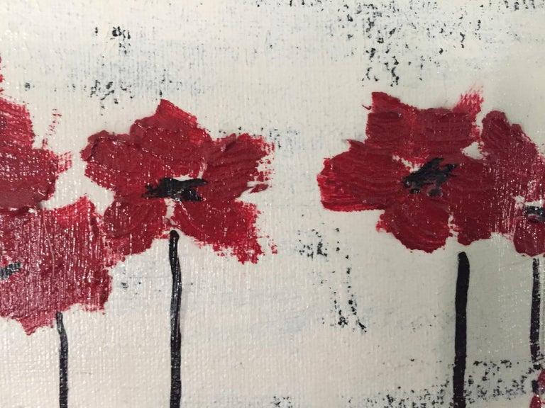 Red Heads 2 - Gray Landscape Painting by Andrea Stajan-Ferkul