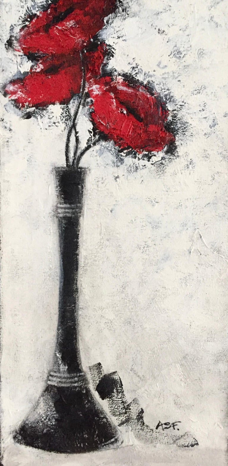 Three Red Poppies - Contemporary Art by Andrea Stajan-Ferkul