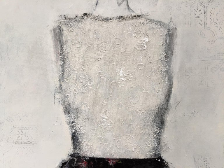 From the artist's ongoing series of dress paintings, this contemporary, impressionistic style painting features an interplay of paint, lace texture and movement on the canvas.  Stajan-Ferkul explores the contrasts between delicate, narrative detail