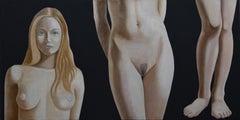 Italian Contemporary Art by Andrea Vandoni - Tall Woman on Short Canvas