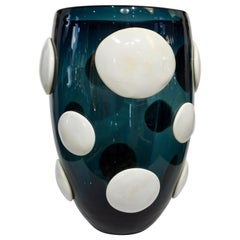 Andrea Zilio Monumental Avio Blue Murano Glass Modern Vase with White Polka Dots