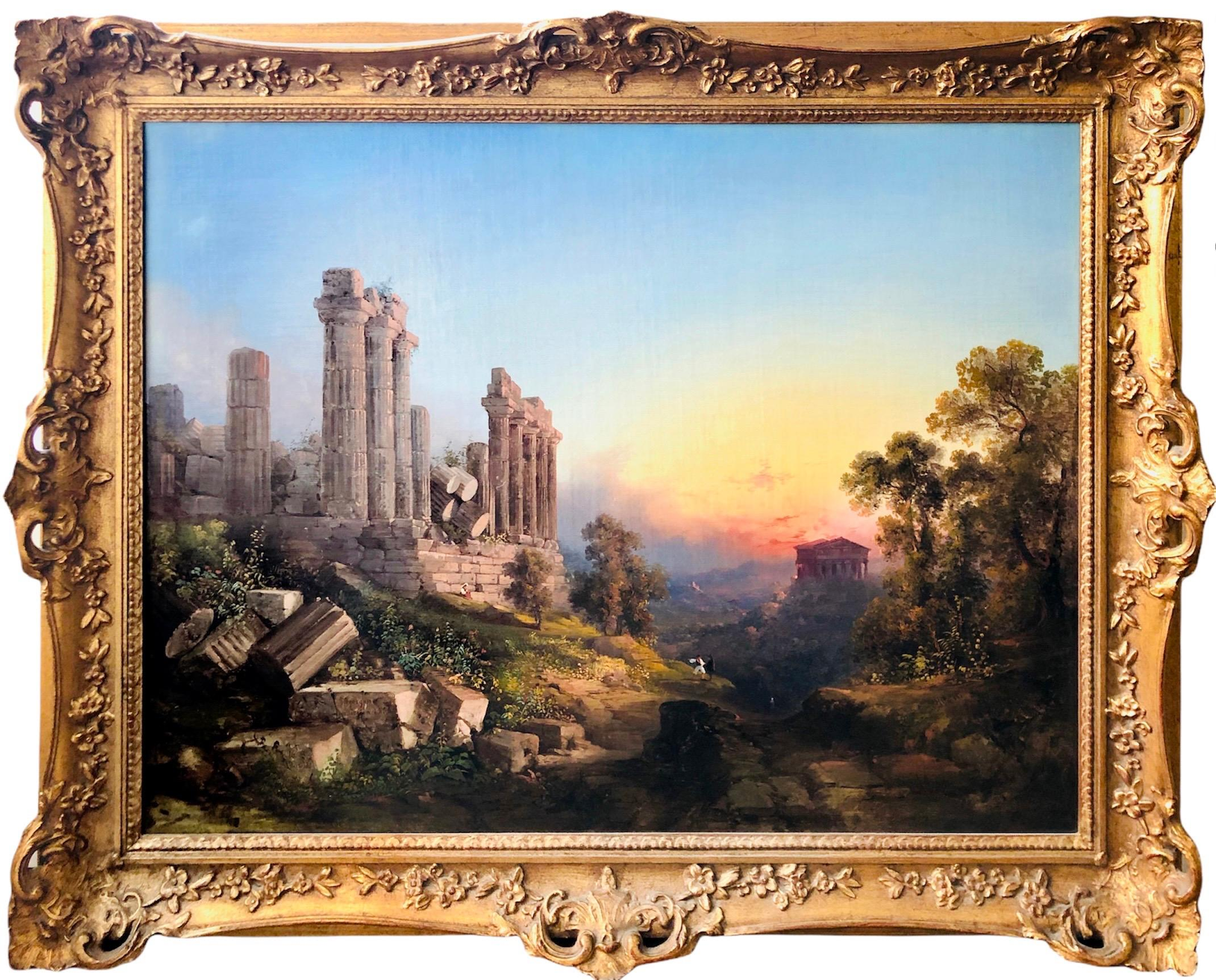 19th century German romantic landscape painting - The Temple Valley in Sicily