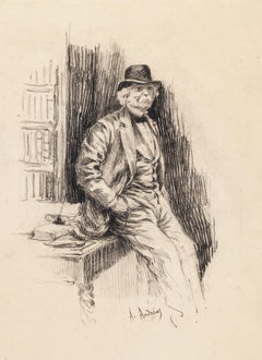 Portrait of Gentleman - Original Lithograph by A. Achenbach - Late 19th Century