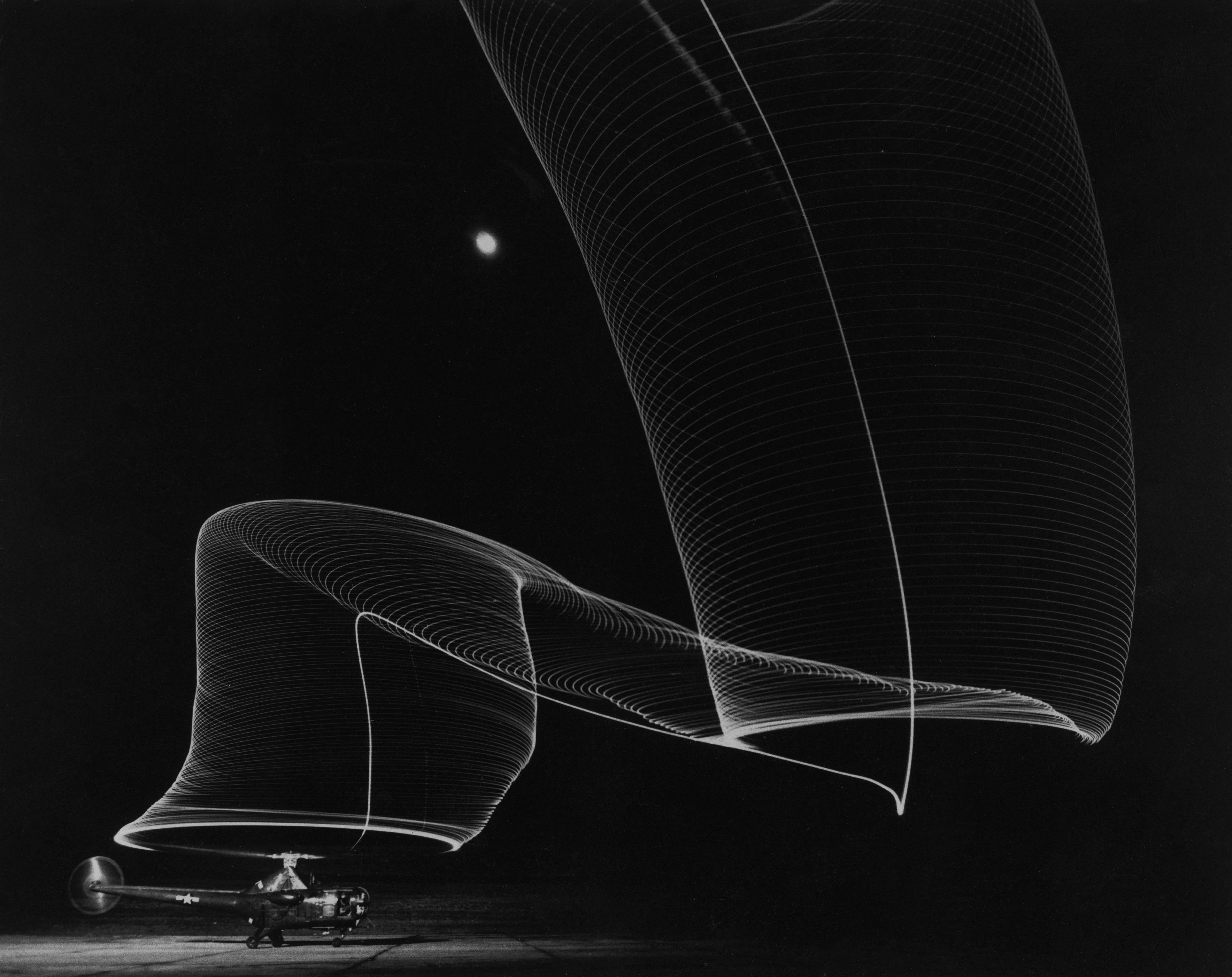 Navy Helicopter or Pattern Made by Helicopter Wing Lights, Anacostia, MD, 1949