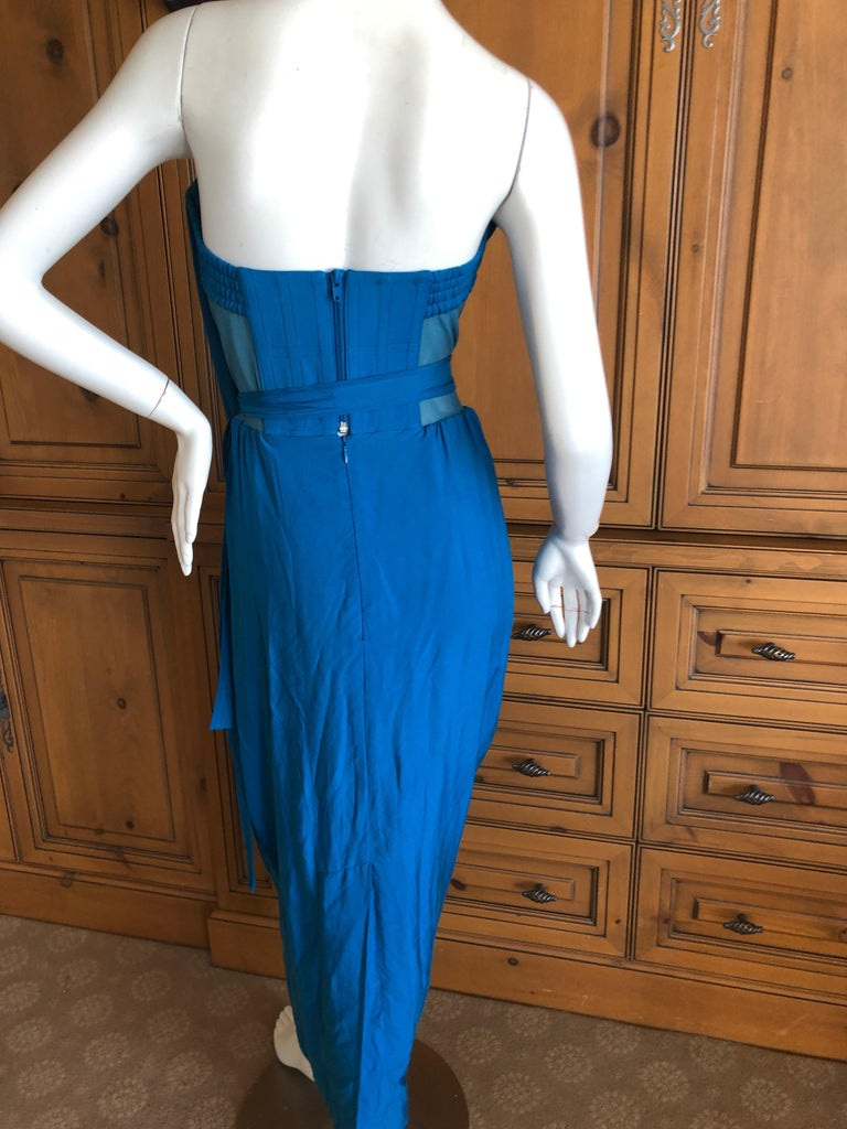 Andreas Kronthaler for Vivienne Westwood Blue Evening Dress with Built In Corset For Sale 6
