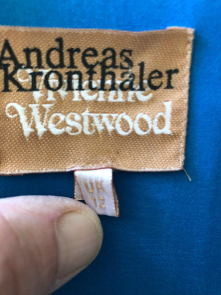 Andreas Kronthaler for Vivienne Westwood Blue Evening Dress with Built In Corset For Sale 7
