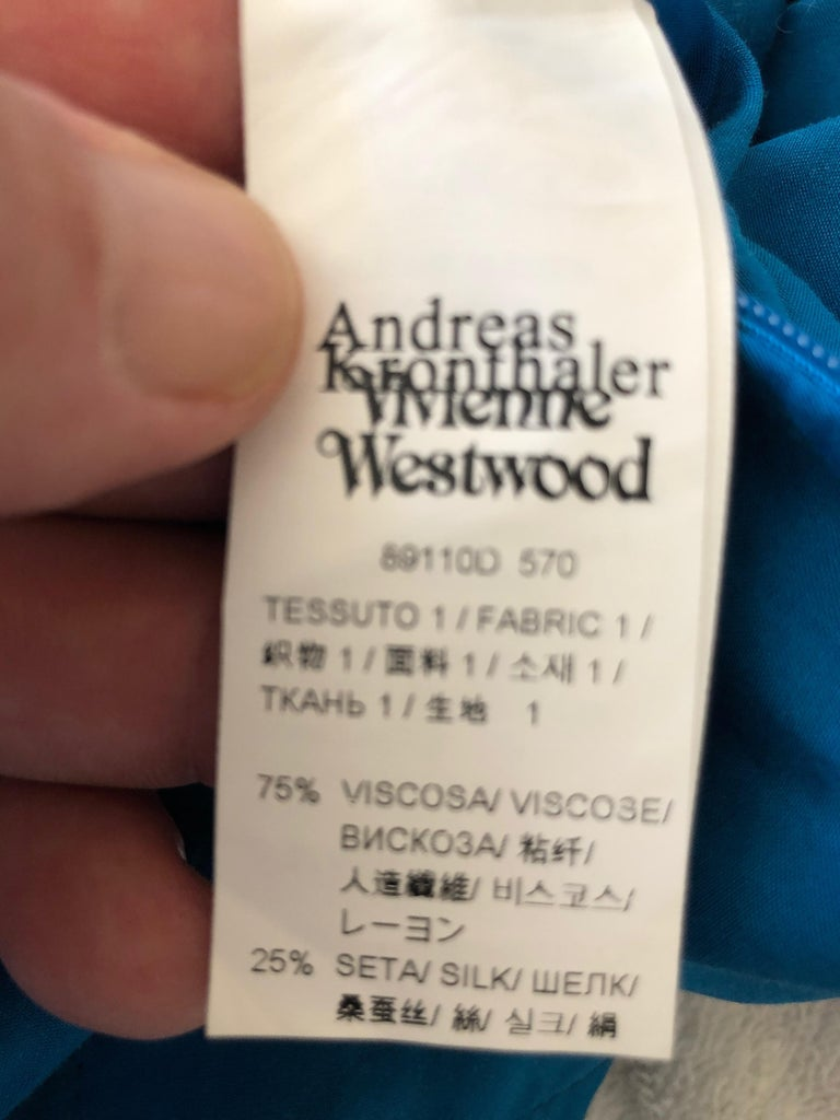Andreas Kronthaler for Vivienne Westwood Blue Evening Dress with Built In Corset For Sale 8