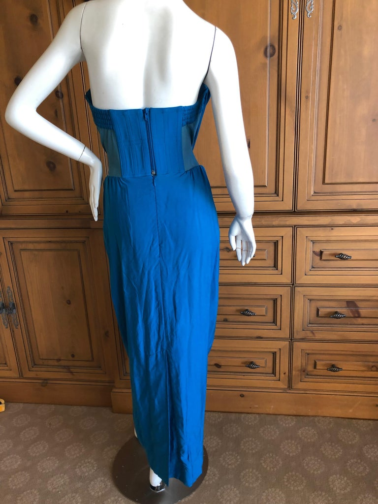 Andreas Kronthaler for Vivienne Westwood Blue Evening Dress with Built In Corset. There is a full inner corset, see photo's . There is a lot of stretch in this fabric. Size 12 UK Bust 36