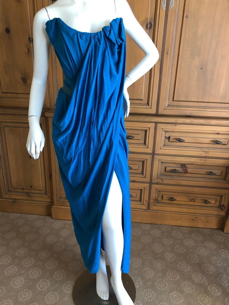 Women's Andreas Kronthaler for Vivienne Westwood Blue Evening Dress with Built In Corset For Sale