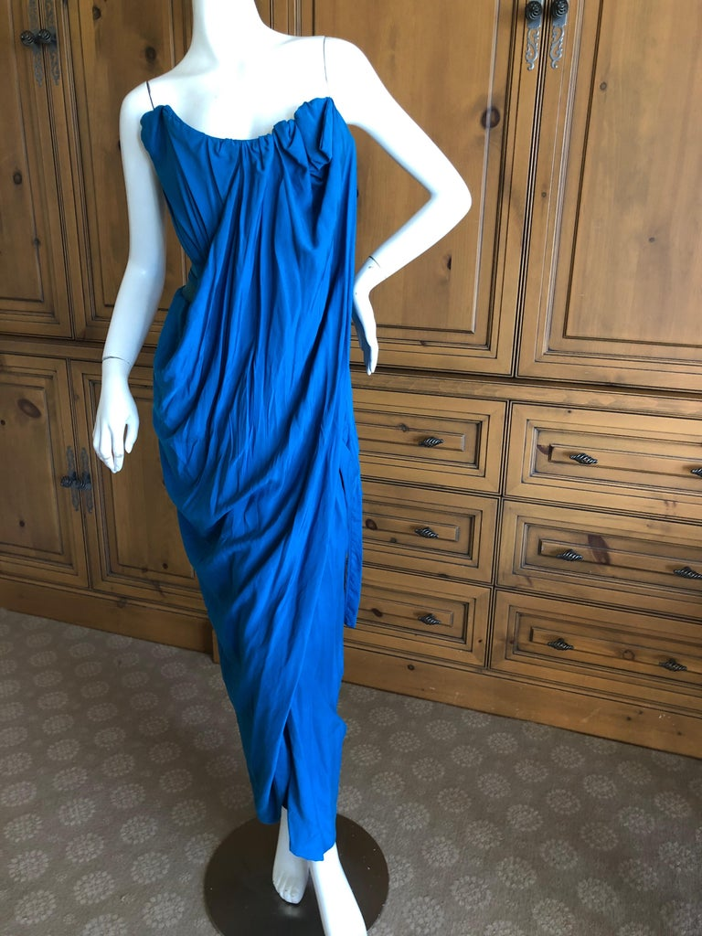 Andreas Kronthaler for Vivienne Westwood Blue Evening Dress with Built In Corset For Sale 1