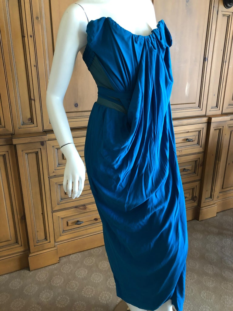 Andreas Kronthaler for Vivienne Westwood Blue Evening Dress with Built In Corset For Sale 2