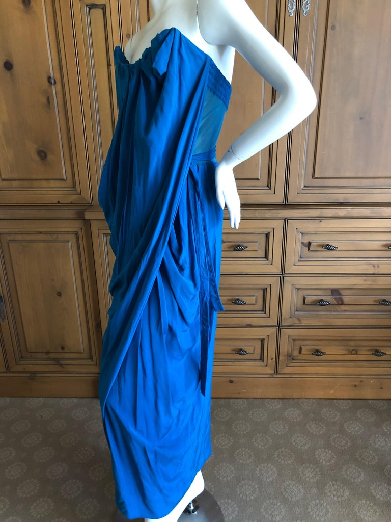 Andreas Kronthaler for Vivienne Westwood Blue Evening Dress with Built In Corset For Sale 5