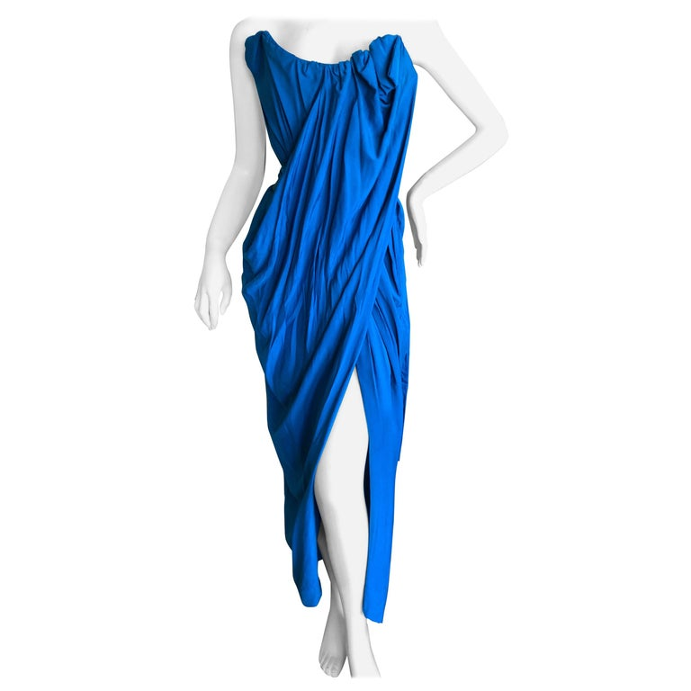 Andreas Kronthaler for Vivienne Westwood Blue Evening Dress with Built In Corset For Sale