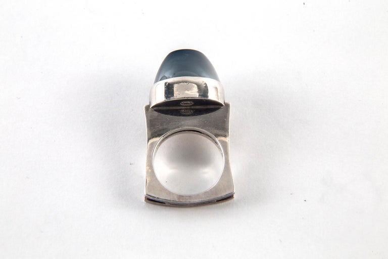 Andreas Mikkelsen for Georg Jensen Hematite and Sterling Silver Ring, Size 5 For Sale 1