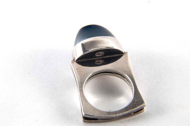 Andreas Mikkelsen for Georg Jensen Hematite and Sterling Silver Ring, Size 5 For Sale 2