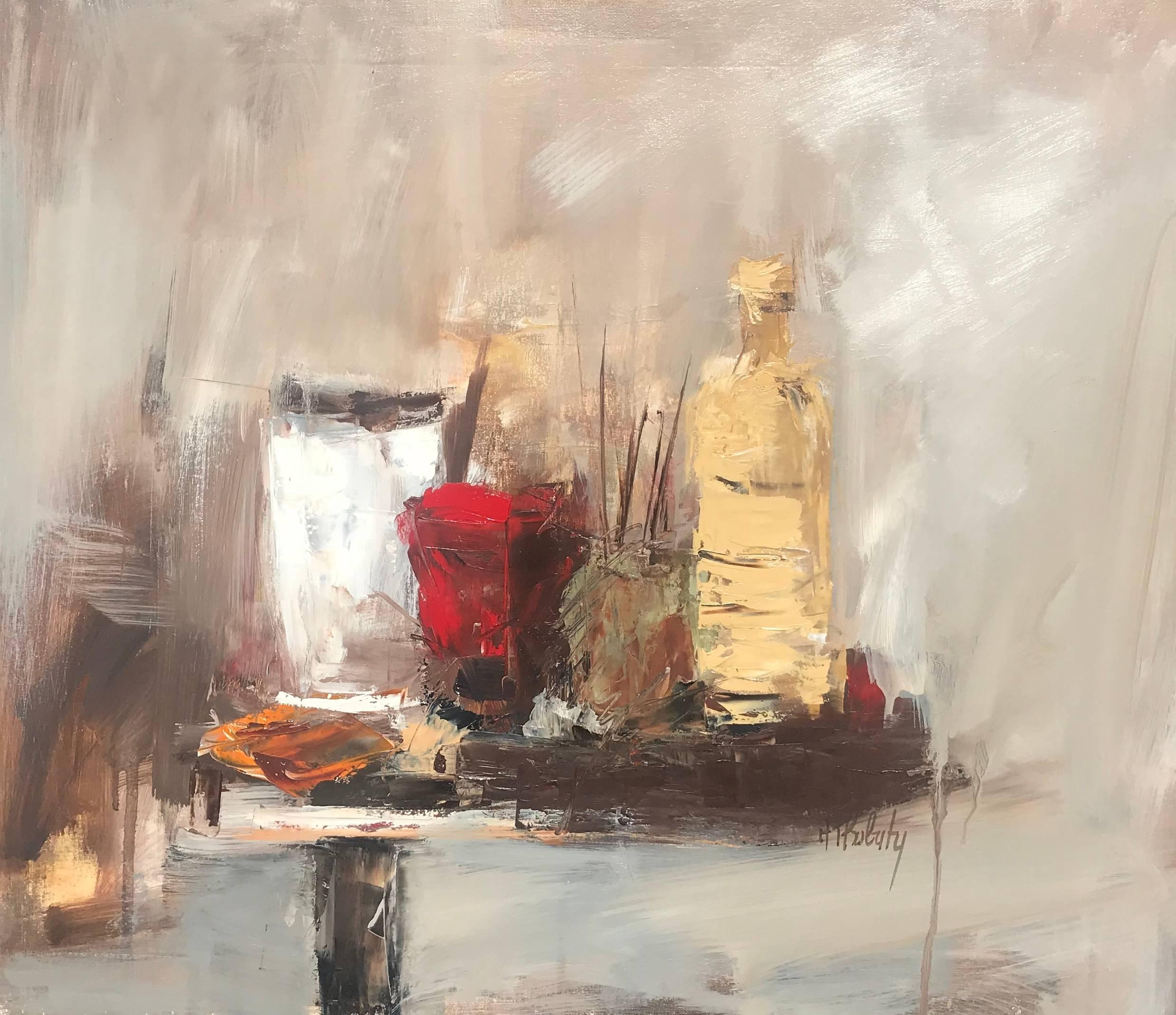 Still Life with Painter's Quills, Abstract Impressionist Still-Life Painting