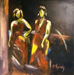Two Women by Andrée Thobaty, Framed French Oil on Canvas Figurative Painting