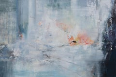 Early Arrival - Horizontal Abstract Blue Landscape Painting on Canvas