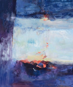 Heart of the Sunrise - Large Abstract Landscape Gestural Painting in Blue