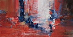 Rapid Response - Horizontal Abstract Landscape Painting in Red and Blue