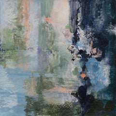 Silent Room - Square Abstract Landscape Painting on Canvas, with Blue and Green