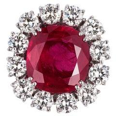 Andreoli 10.05 Carat Burma Ruby CDC Certified Diamond Ring 18 Karat Gold