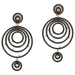 Andreoli 11.15 Carat Black Diamond Hoop Earrings 18 Karat Rose Gold