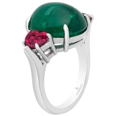 Andreoli 12.16 Carat Cabochon Colombian Emerald and Ruby Ring Platinum CDC Cert