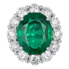 Andreoli 12.22 Carat Emerald CDC Certified Diamond Platinum Engagement Ring