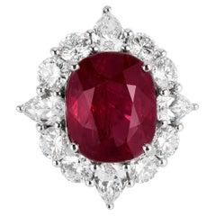 Andreoli 13.57 Carat Mozambique Ruby Diamond 18 Karat Platinum Ring Certified