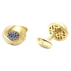 Andreoli 18k Gold Yellow Brushed Gold and Blue Sapphire Cufflinks