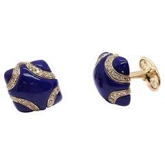 Andreoli 18K Rose Gold Diamond and Lapis Cufflinks