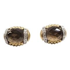 Andreoli 18k Yellow Gold Diamonds and Smokey Quartz Cufflinks