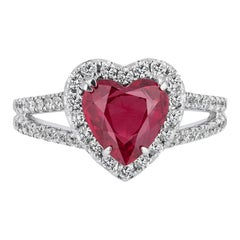 Andreoli 1.93 Carat Burma Ruby Heart Shape Diamond 18 Karat White Gold Ring