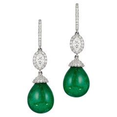 Andreoli 20.25 Carat Emerald Diamond Drop Earrings 18 Karat White Gold