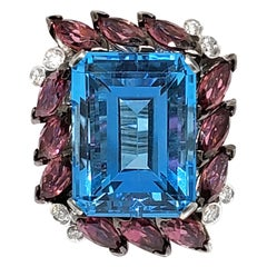 Andreoli 31.45 Carat Blue Topaz Tourmaline Diamond 18 Karat Gold Cocktail Ring