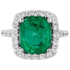 Andreoli 4.07 Carat Colombian Emerald CDC Certified Diamond Ring 18 Karat