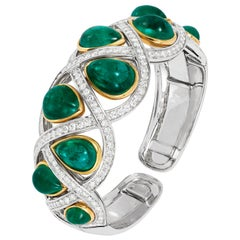 Andreoli 43.96 Carat Emerald Cabochon Drops Diamond Cuff Bracelet 18 Karat Gold