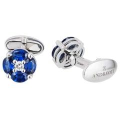Andreoli 4.45 Carat Blue Sapphire 18 Karat White Gold Cufflinks