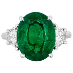 Andreoli 7.06 Carat CDC Certified Emerald Diamond Ring Platinum