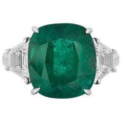 Andreoli 7.99 Carat Emerald CDC Certified Zambian Diamond Ring 18 Karat