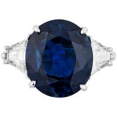 Andreoli 9.38 Carat Blue Sapphire CDC Certified Engagement Ring Platinum