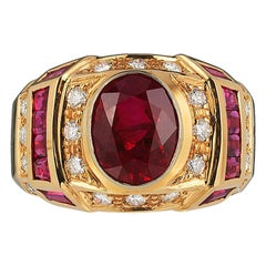 Andreoli Art Deco Style Ruby Diamond CDC Certified Ring 18 Karat Yellow Gold