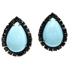Andreoli Black Diamond Italian Turquoise Clip-On Earrings 18 Karat Gold