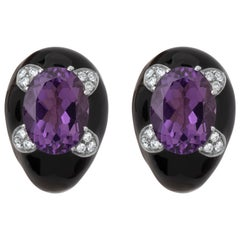Andreoli Black Enamel Amethyst Diamond Clip-On Earrings 18 Karat Silver