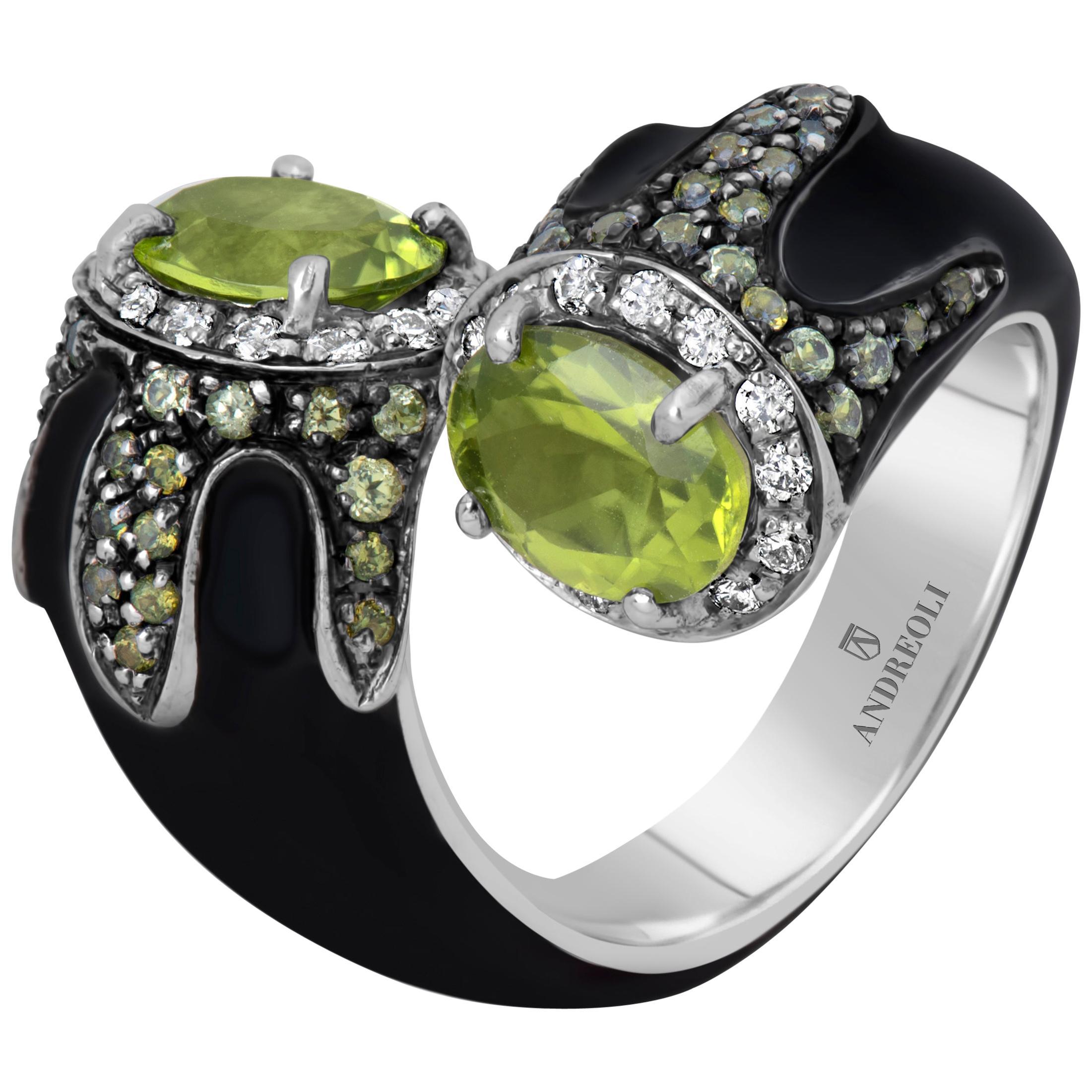 Andreoli Black Enamel Peridot Diamond Bypass Cocktail Ring Silver 18 Karat Gold
