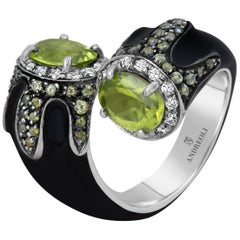 Andreoli Black Enamel Peridot Diamond Bypass Cocktail Ring Silver 18 Karat Gold