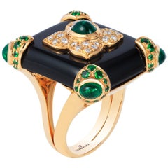Andreoli Black Onyx Emerald Tsavorite Garnet Diamond 18 Karat Gold Cocktail Ring